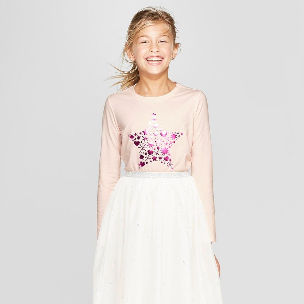 Girls' Long Sleeve Star Graphic T-Shirt - Cat & Jack Blush XL, Pink