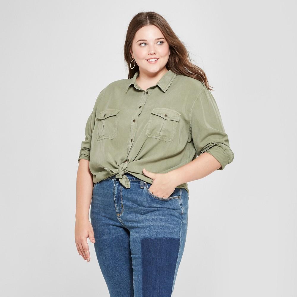 Women's Plus Size Soft Twill Long Sleeve Shirt - Universal Thread Olive (Green) 1X