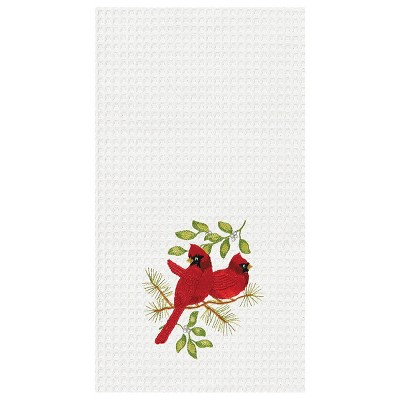 C&F Home Song Bird Cardinals Waffle Weave Embroidered Cotton Kitchen Towel