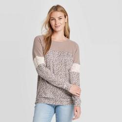 Women's Leopard Print Raglan Long Sleeve Blouse - Knox Rose™ Light Brown