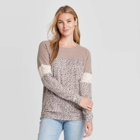 Women's Leopard Print Raglan Long Sleeve Blouse - Knox Rose™ Light Brown - image 1 of 2
