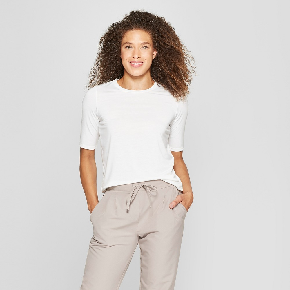 Mpg Sport Women's Short Sleeve Knit T-Shirt - Coconut Cream S