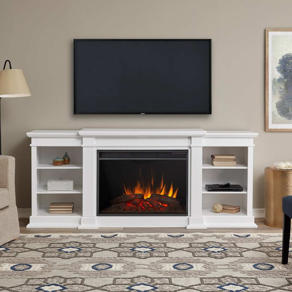 "Image of ""81"""" Eliot Grand Electric Fireplace Entertainment Center White - Real Flame"""