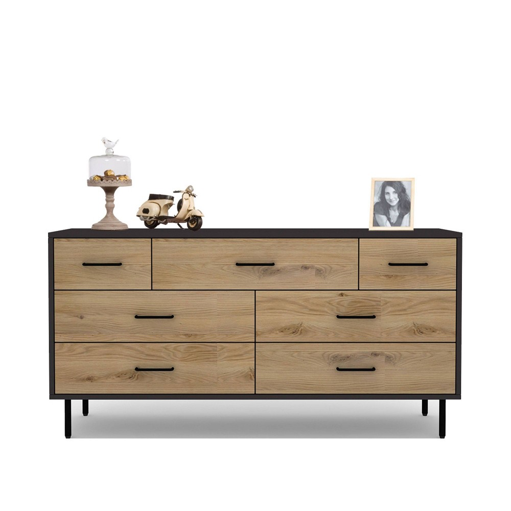 Tyler Mid Century Wood 7 Drawer Dresser Natural - Abbyson Living