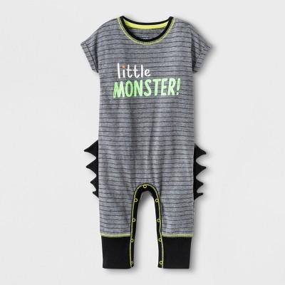 Baby Boys'  Littler Monster!  Short Sleeve Romper with Spikes - Cat & Jack™ Black <br>0-3M