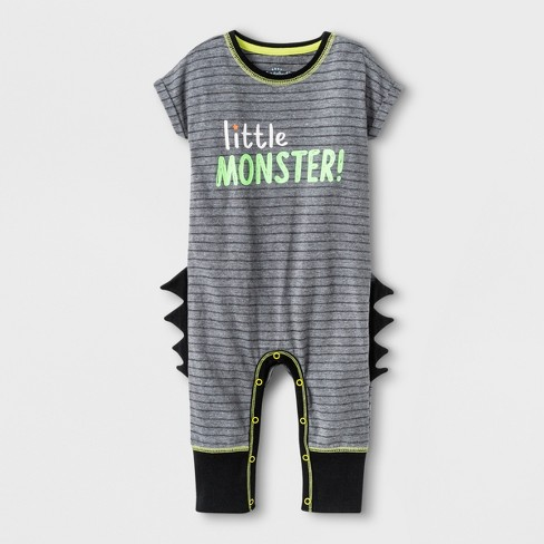 "Baby Boys' ""Littler Monster!"" Short Sleeve Romper with Spikes - Cat & Jack™ Black - image 1 of 1"
