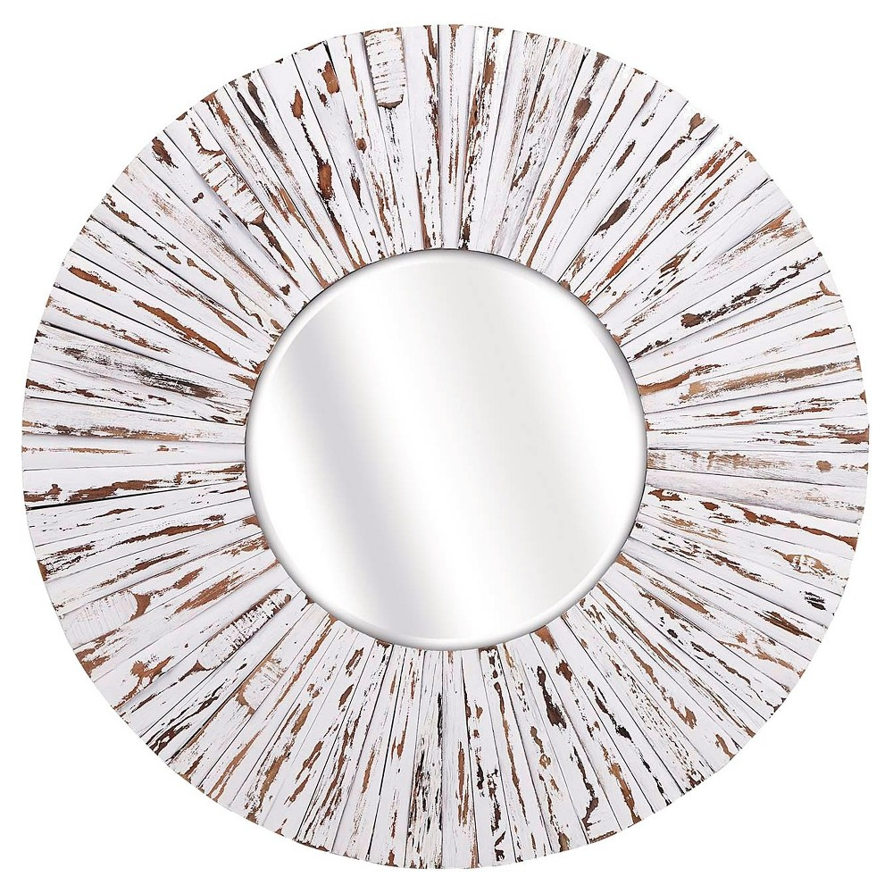 Sunburst Decorative Wall Mirror White - Aurora Lighting