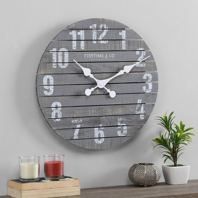 Augustus Farmhouse Shiplap Clock Gray - FirsTime