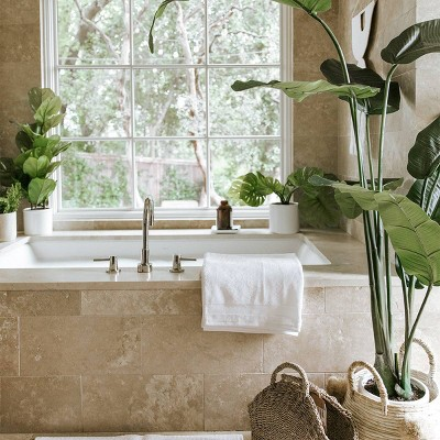 Spa Tub with Faux Greenery Collection Styled by Camille Styles
