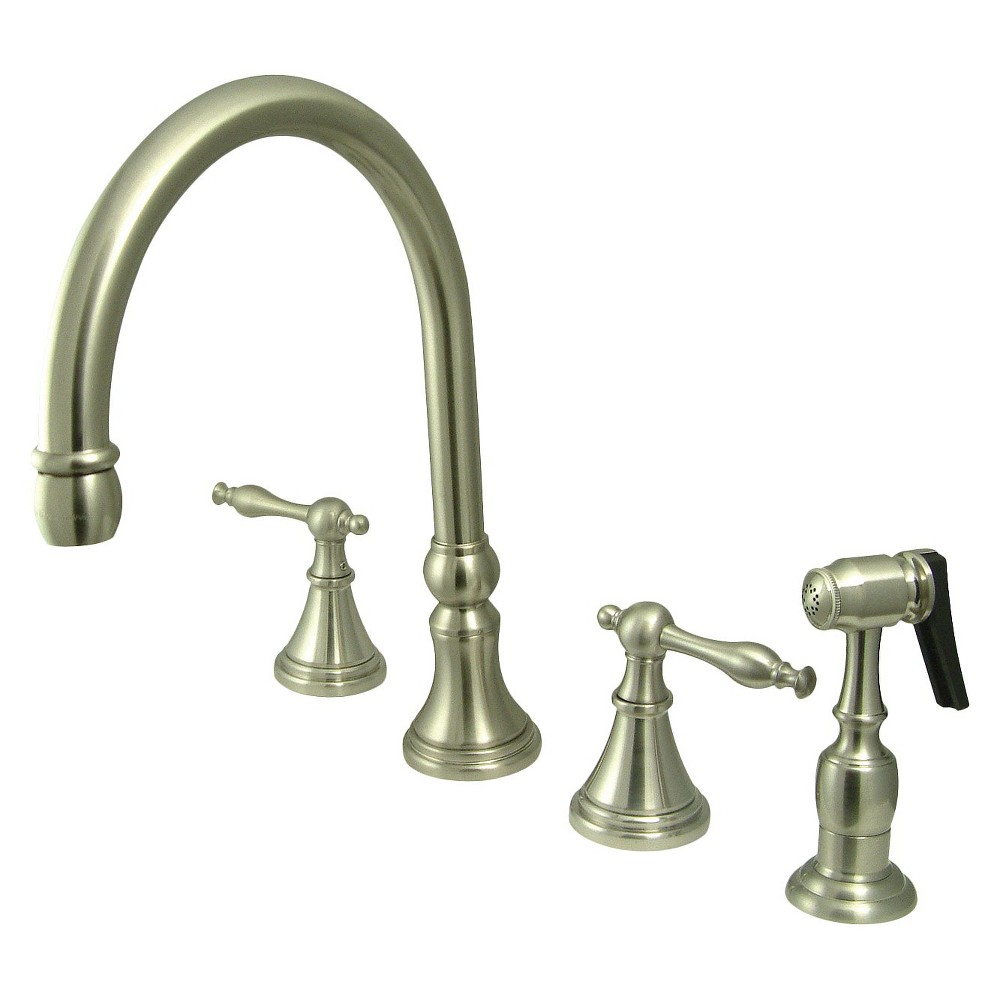 Widespead 4-Hole Solid Brass Kitchen Faucet Satin Nickel - Kingston Brass, Gold