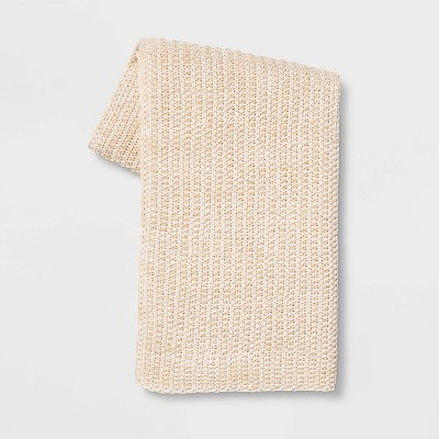 Heathered Knit Throw Neutral - Threshold™
