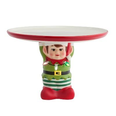 """10"""" Ceramic Elf Cake Serving Platter - Mr. Christmas"""