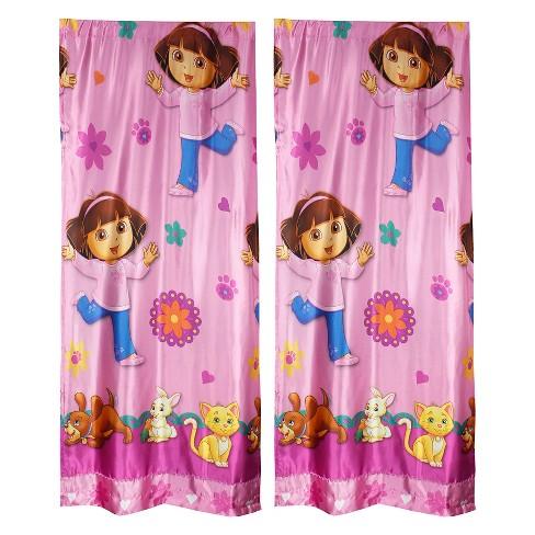 2pc Long Drapes Doras Pets Satin Window Curtain Panel Set - Dora the Explorer.. - image 1 of 2