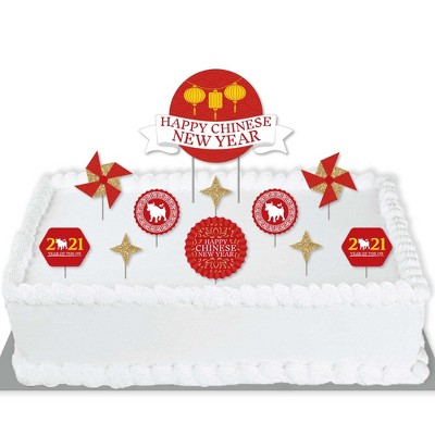 Big Dot of Happiness Chinese New Year - 2021 Year of the Ox Party Cake Decorating Kit - Happy Chinese New Year Cake Topper Set - 11 Pieces
