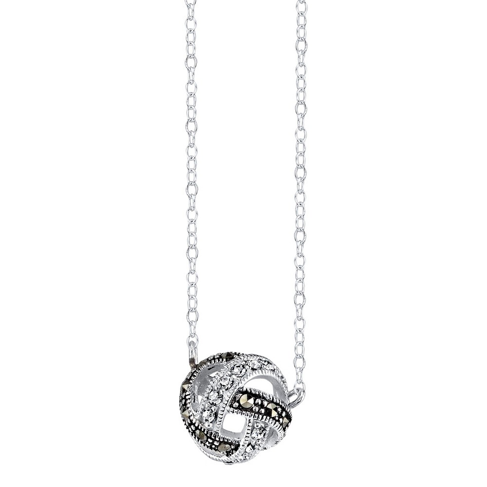 Silver Plated Marcasite and Crystal Knot Pendant - 18.3, Women's, Silver/Metallic
