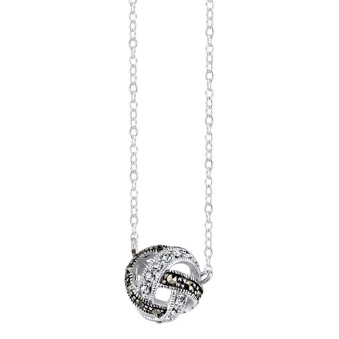 """Silver Plated Marcasite and Crystal Knot Pendant - 18.3"""" - image 1 of 1"""