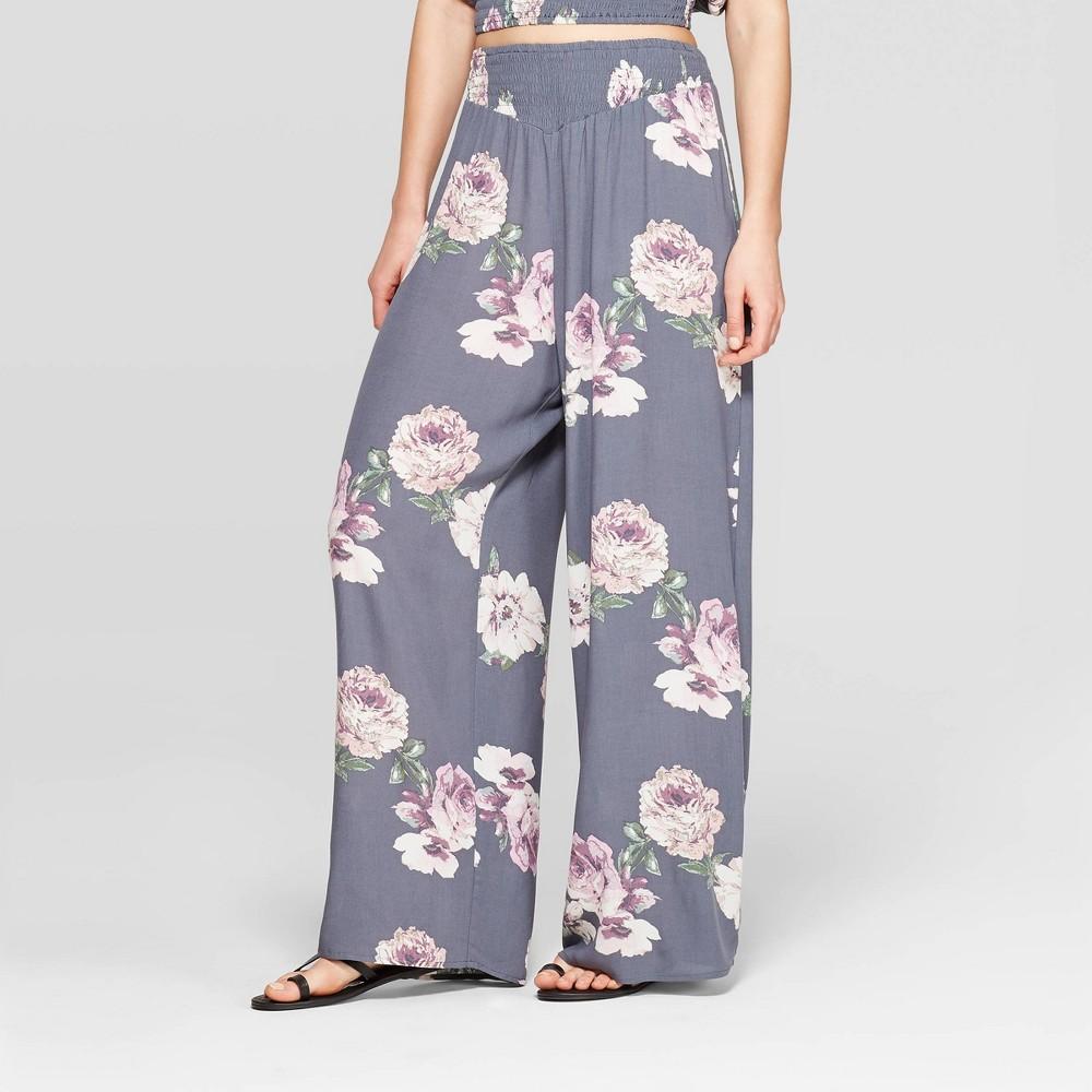 Women's Floral Print Smocked Top Wide Leg Pants - Xhilaration Gray/Pink S