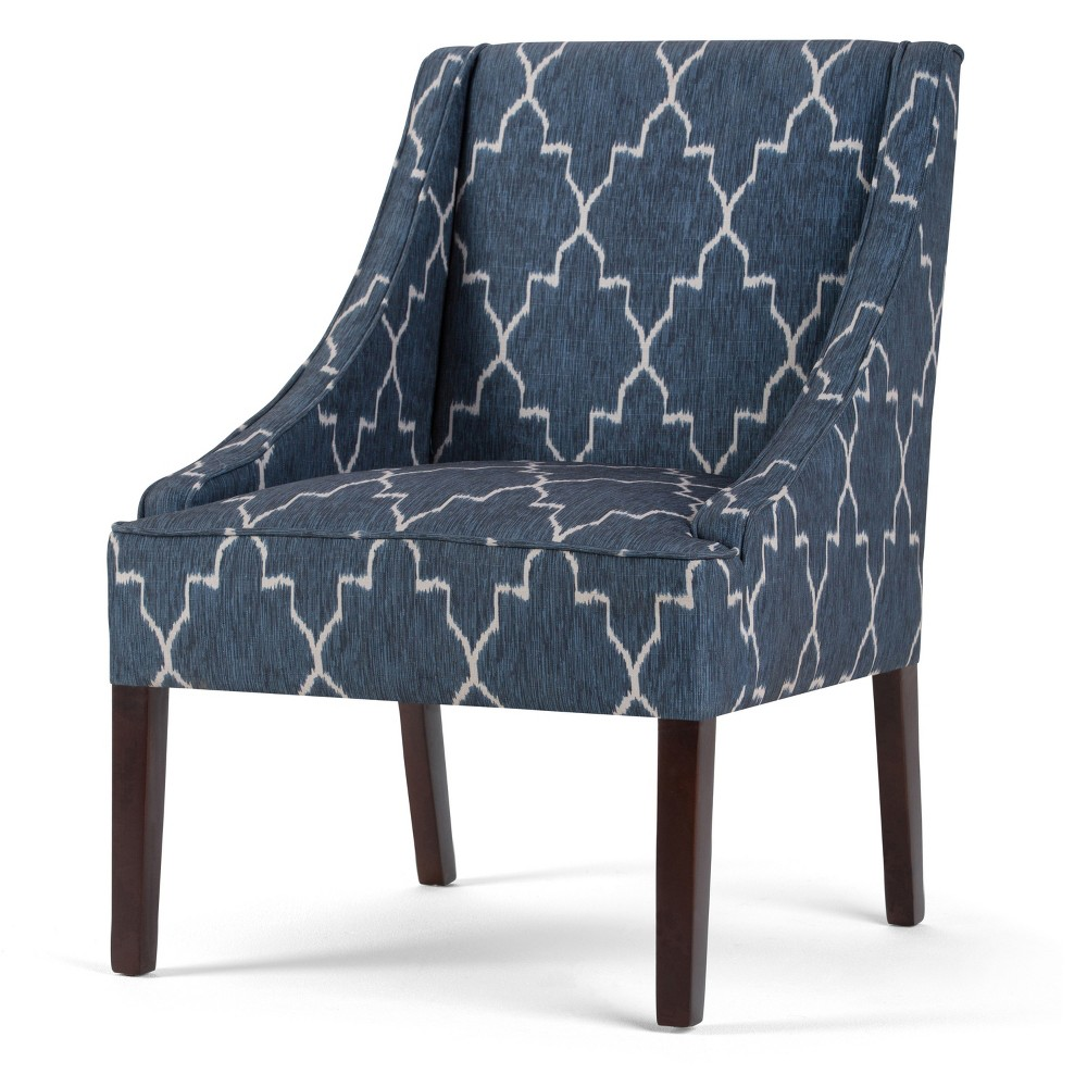 """Image of """"25"""""""" Lilith Accent Chair Cobalt Blue Moroccan Patterned Fabric - Wyndenhall"""""""