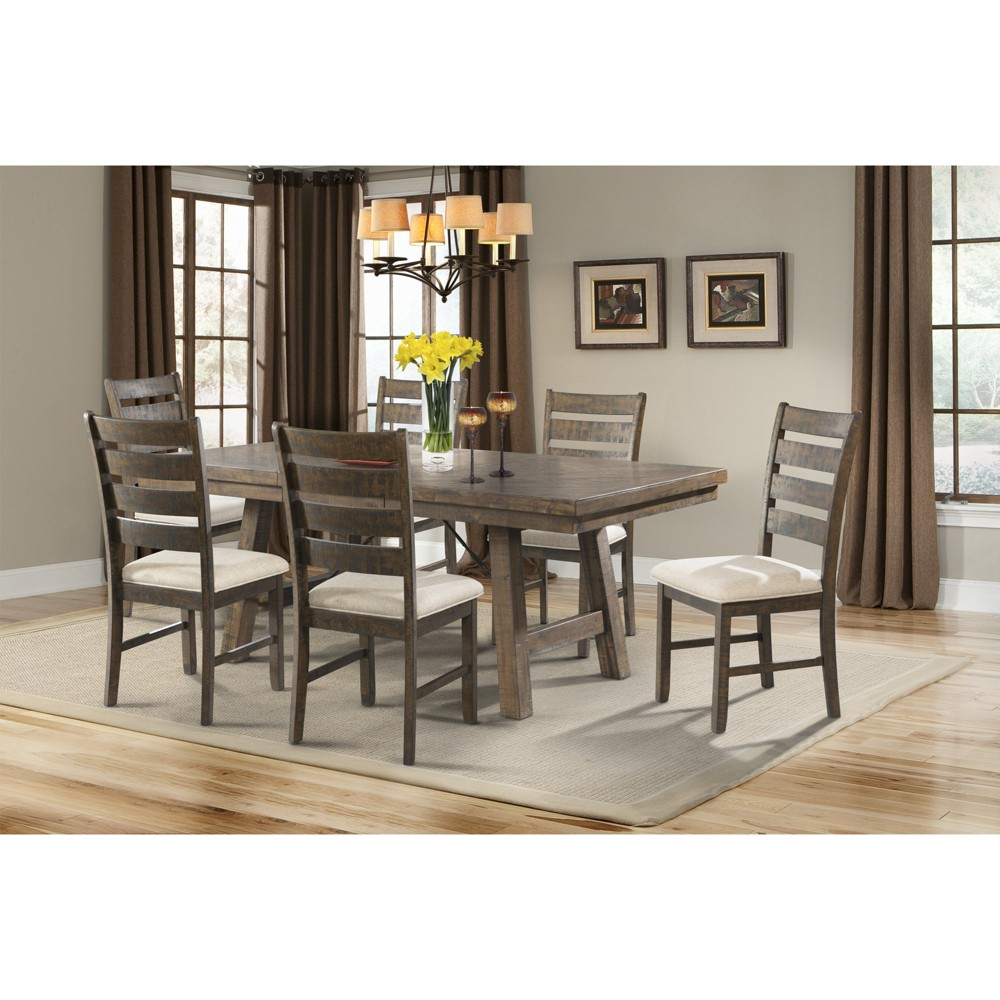 Dex 7pc Dining Set Table, 6 Ladder Side Chairs Walnut Brown/ Cream Upholstery - Picket House Furnishings