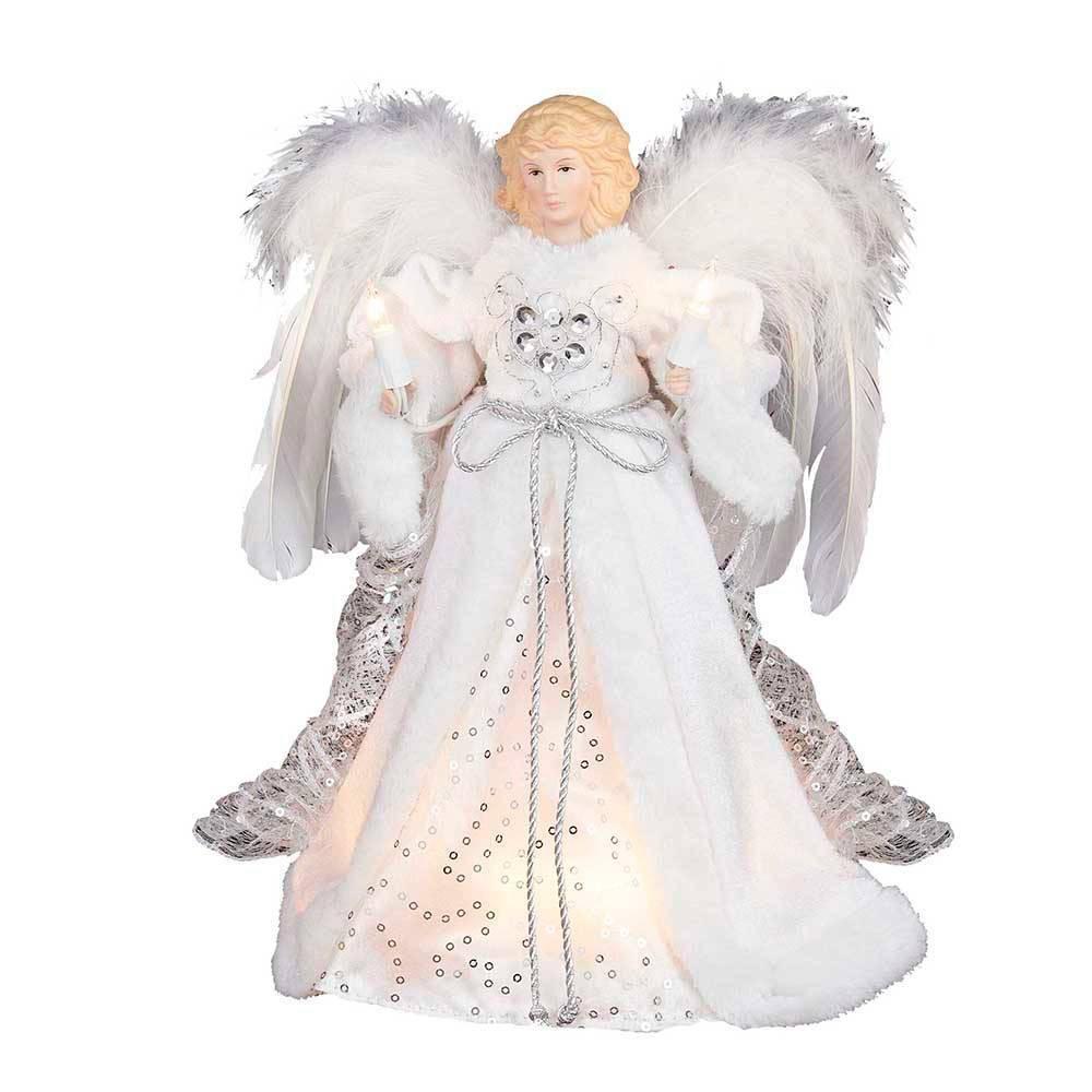 """Image of """"12"""""""" Kurt Adler 10 Light Angel Tree Topper White and Silver, White Silver"""""""
