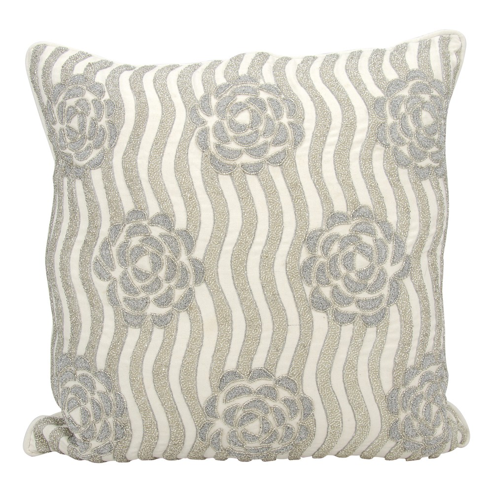 Image of Silver Floral Throw Pillow - Mina Victory