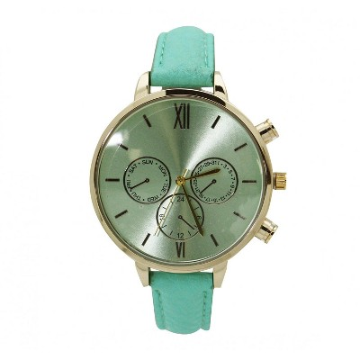 Olivia Pratt Three Subdial Gold Accented Leather Strap Watch