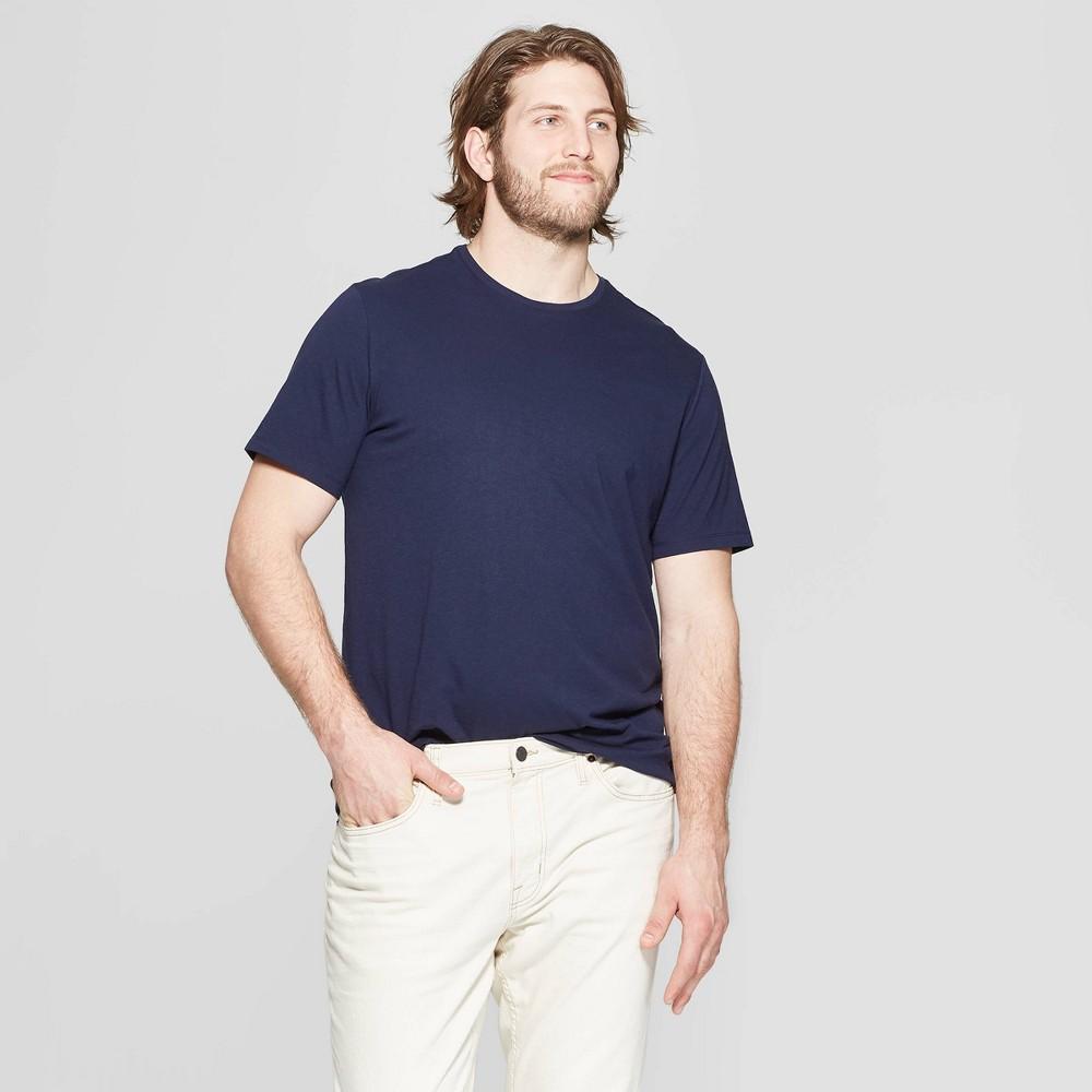 Men's Big & Tall Standard Fit Short Sleeve Lyndale Crew T-Shirt - Goodfellow & Co Xavier Navy 3XBT