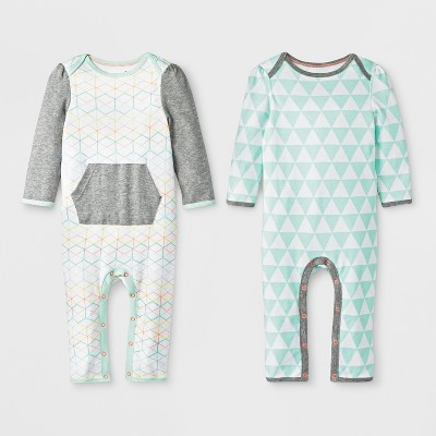 Baby Girls' 2pc Geo Romper Set - Cloud Island™ White/Mint 0-3M