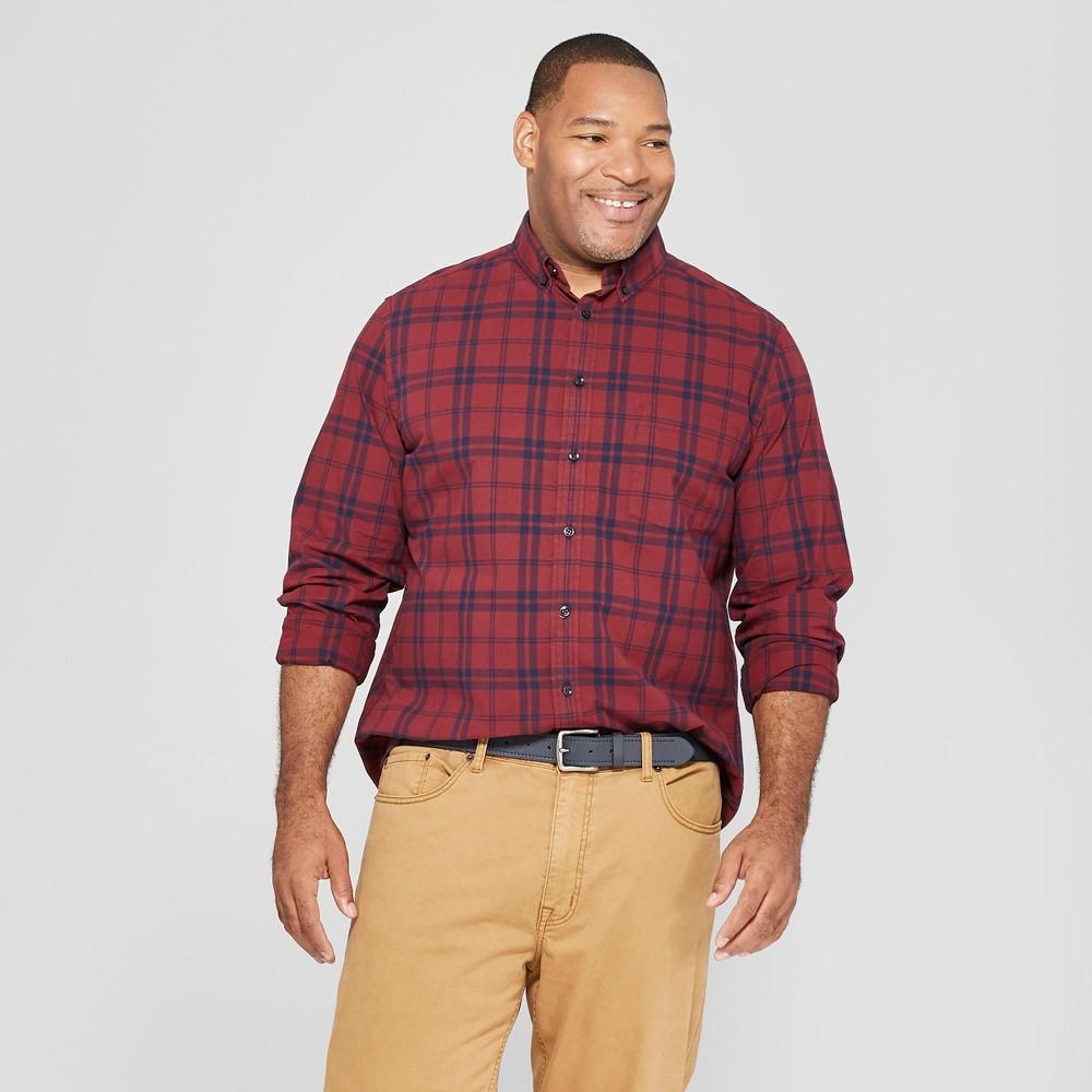Men's Tall Plaid Standard Fit Long Sleeve Northrop Poplin Button-Down Shirt - Goodfellow & Co Berry Cobbler MT