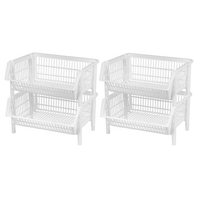 IRIS 4pk Jumbo Stacking Plastic Storage Basket