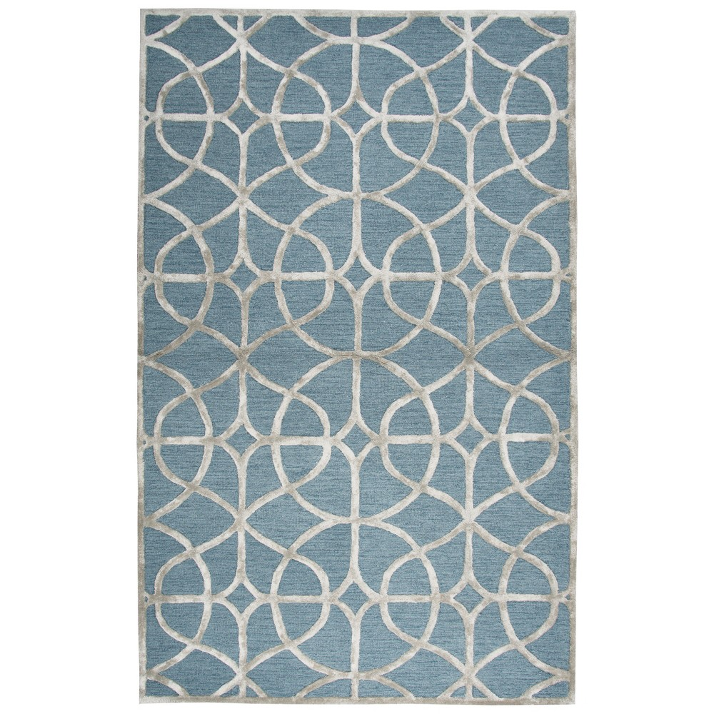 Pale Green Trellis Tufted Area Rug 5'X8' - Rizzy Home, Denim Blue