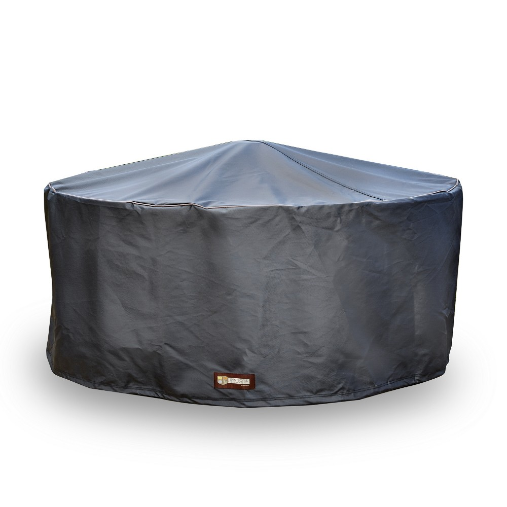 Image of Seasons Sentry Large Round Fire Pit Cover, Black