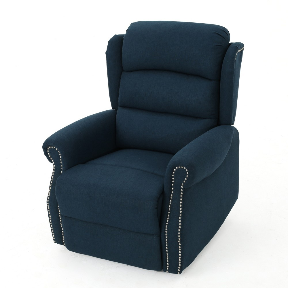 Dezzie Tufted Power Recliner Navy Blue - Christopher Knight Home