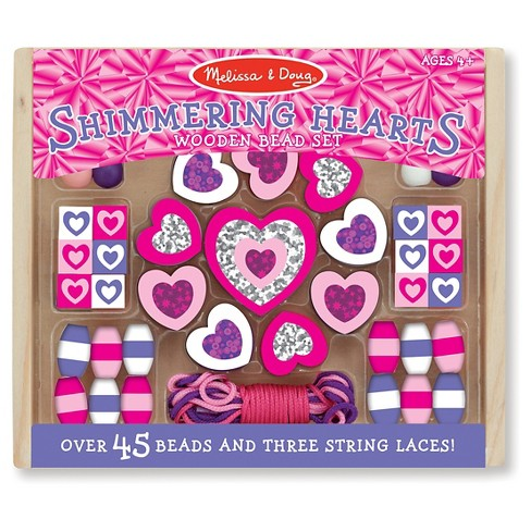 Melissa & Doug® Shimmering Hearts Wooden Bead Set - image 1 of 1