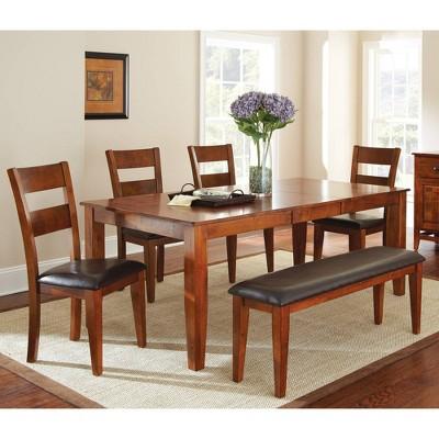 6pc Amanda Extendable Dining Table Sets Medium Brown - Steve Silver