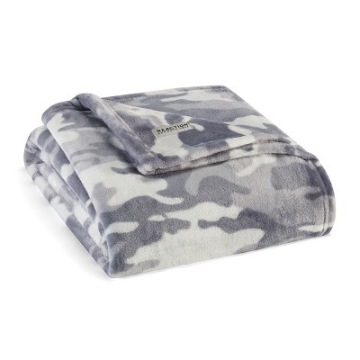 """Kenneth Cole Reaction Blend Out Throw Blanket, Ultra Soft Plush Fleece, Grey, 50"""" X 70"""""""