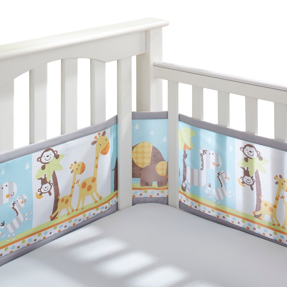 Image of BreathableBaby Mesh Crib Liner - Jungle Animals