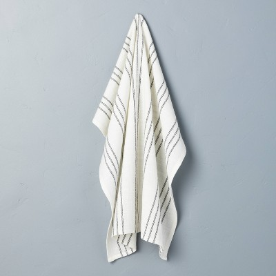 Stripe Flour Sack Kitchen Towel Sour Cream/Railroad Gray - Hearth & Hand™ with Magnolia