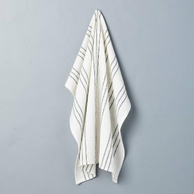 Stripe Flour Sack Kitchen Towel Sour Cream/Railroad Gray - Hearth & Hand™ with Magnolia