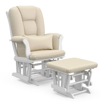 Storkcraft Tuscany White Glider and Ottoman - Beige