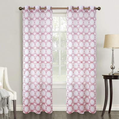 Ramallah Trading Delray Quatrefoil Embroidered 54 x 84 in Single Grommet Curtain Panel