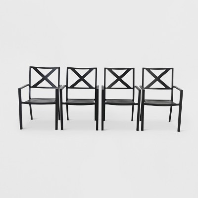 Afton 4pk Metal Stack Patio Dining Chair Black - Threshold™