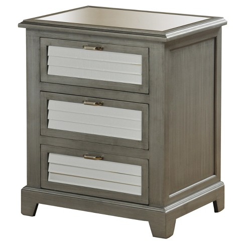 3 Drawer Side Cabinet with Shutter Design Mirrored Panels - Vintage Grey - Stylecraft - image 1 of 1