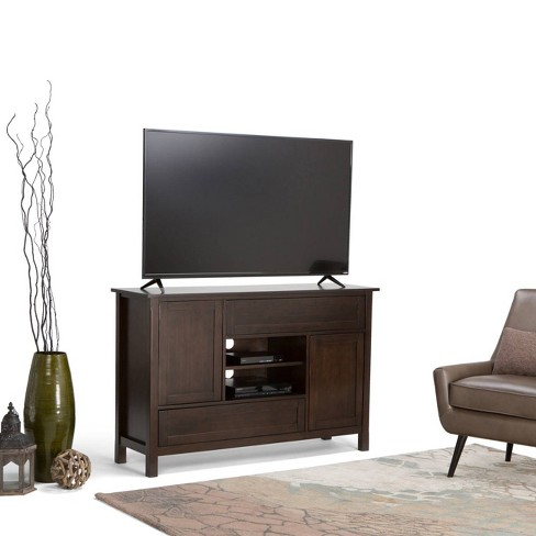 Fleming Solid Wood 54 Tall Tv Stand Dark Chestnut Brown For Tvs Up