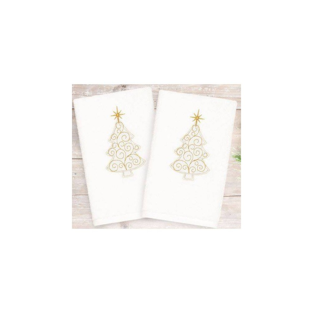 Image of 2pk Gold Tree Holiday Hand Towels - Linum Home Textiles, White