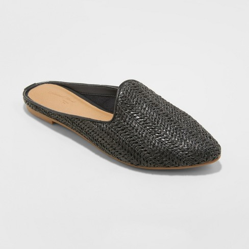 Women's Violet Woven Backless Mules - Universal Thread™ Black 8 - image 1 of 3