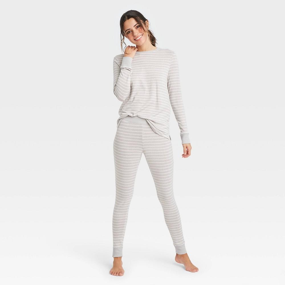 Women 39 S Striped Cozy Long Sleeve Top And Leggings Pajama Set Stars Above 8482 Gray Xxl