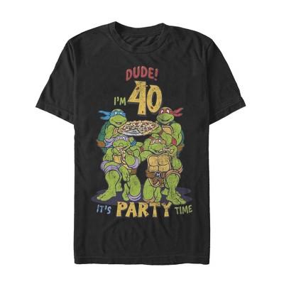 Men's Teenage Mutant Ninja Turtles 40th Birthday Pizza Party T-Shirt