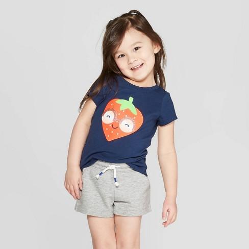 2aa0b528 Toddler Girls' Short Sleeve 'Strawberry' Graphic T-Shirt - Cat & Jack™ Navy