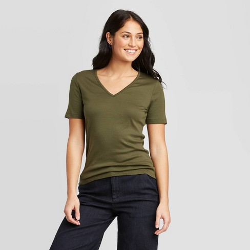 Women's Slim Fit Short Sleeve V-Neck Fitted T-Shirt - A New Day™ - image 1 of 3